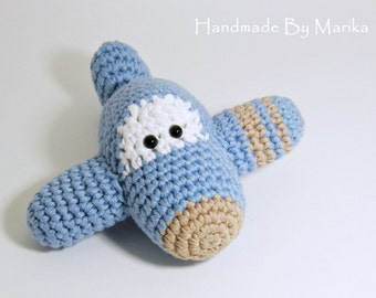 Amigurumi Toy Airplane Baby Rattle - organic cotton - light blue and beige