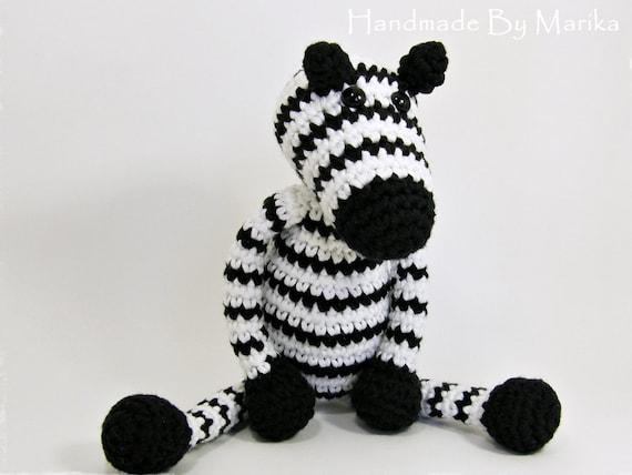 Crochet toy amigurumi animal zebra rattle - black and white - organic cotton