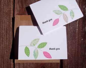 Thank You Cards -  Leaf Thank You Notes, Pastel Pink Lime Green Spring Green Thank You Card Set Leaf Branches, Botanical Garden Leaves