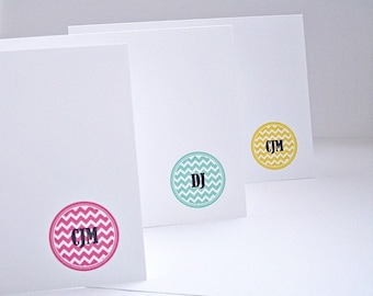 Personalized Note Card Set - Personalized Stationery, Chevron Circle Monogram Initials, Personalized Thank You Notes, Chevron Monogram Cards