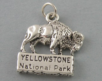 Sterling Silver 925 Charm Pendant YELLOWSTONE Bison Buffalo 1672