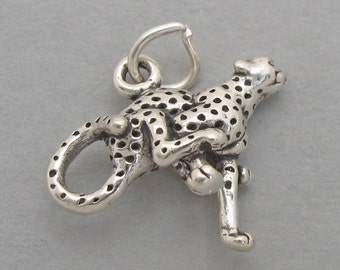 Sterling Silver 925 Charm Pendant 3D RUNNING CHEETAH 2548