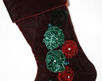 Rust-Brown Velvet Stocking with Velvet  Flower Accents