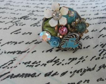 She Sparkles.vintage assemblage collage ring