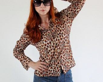 SALE - Vintage 1970s Wild Leopard Animal Print Shirt