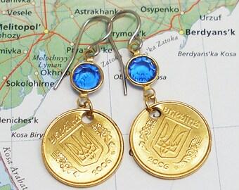 Ukraine, Authentic Coin Earrings - - Ukrainian Tryzub - - World Traveller - Dynasty - Europe - Travel Gifts