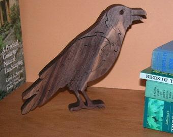 Raven Puzzle - Home Decor -  Animal Theme - Office Decor - Bookshelf Bird