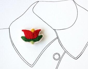 Red Tulip Brooch, Felt Flower Brooch, Flower Jewelry, Felt Flower, Folk Art