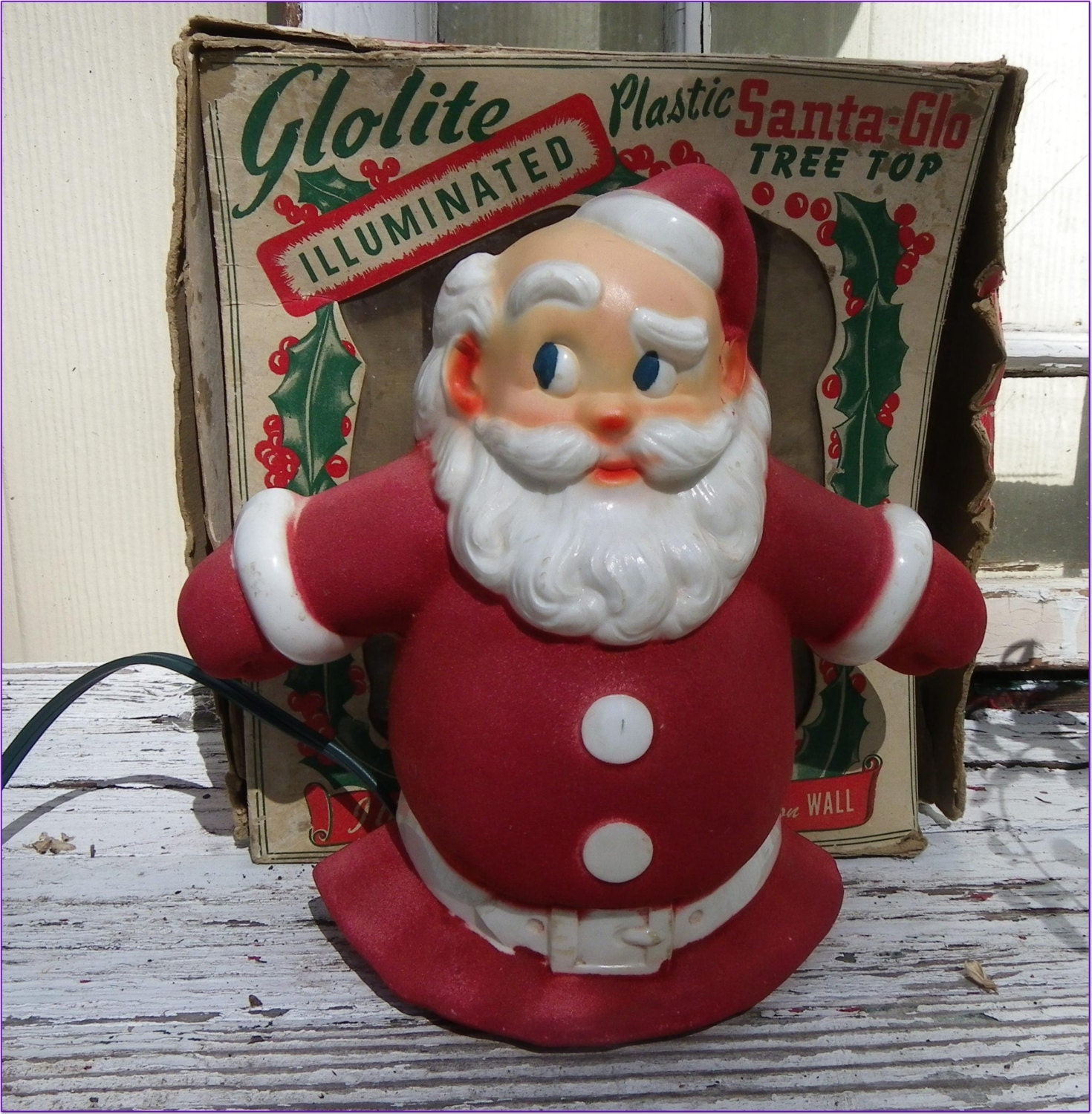 Glolite Santa Glo Tree Topper Window Sitter Light Original