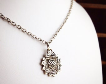 Sunflower Necklace / Silver / Pick Your Length