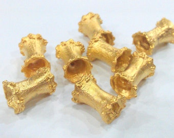 4 Pcs (13x8 mm)  Tube Beads , Gold Plated  Brass  G1508
