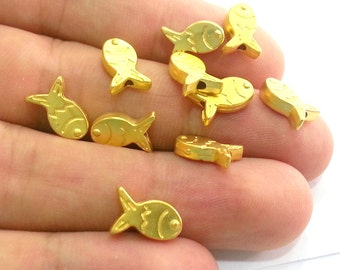 6 Gold Charms Gold Plated Metal Fish Charms 6 pcs (12x8 mm) G2799