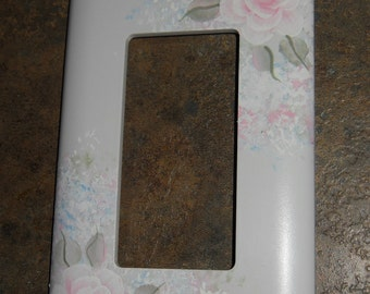 Shabby Cottage Chic Hand Painted Pale Rose With Blue Floral Single Rocker Light  Switch Cover