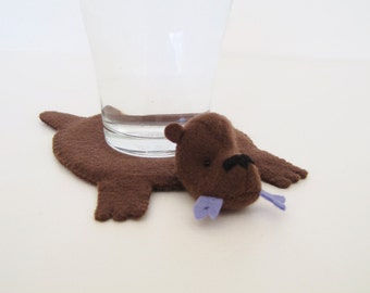 Bear Rug Coaster with Fish (dark brown with periwinkle fish)