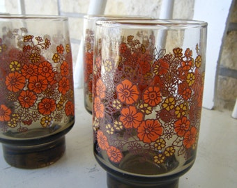 Yellow and Orange Floral Glasses - Set of 4