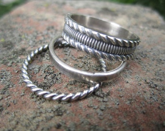 Twisted Trio -Set of 3 Sterling Silver Stacking rings, Stack set.  Save over 20% of individual prices.