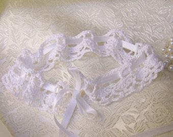 Crochet Bridal Garter, White Lace Garter, Wedding Accessory, Bridal Lace, White Lingerie, Lacy