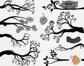 Tree Branch Silhouettes, Leaves + Branch ClipArt, Tree Branch Image + Bird Nest & Pine Cone, Download PNG Image + Photoshop Brush
