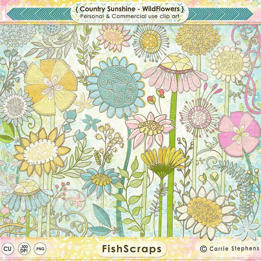 Shabby Chic Wild Flower ClipArt Summer Country Sunshine