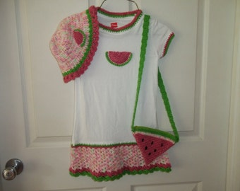 Crocheted Summer Watermelon T Dress  Floppy Hat and Purse