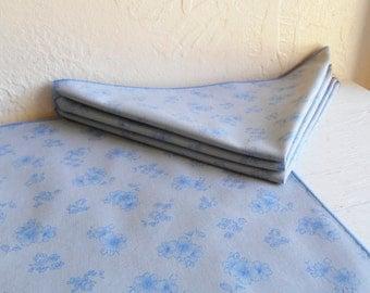 Set Of Four Grey And Blue Cloth Napkins