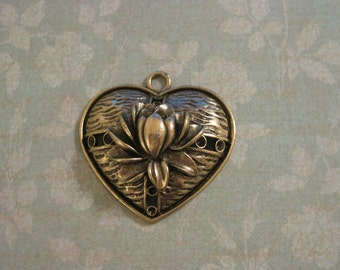 Set of 3 antique bronze lotus flower heart pendants
