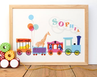 Circus - A Personalised Print for Nursery or Playroom
