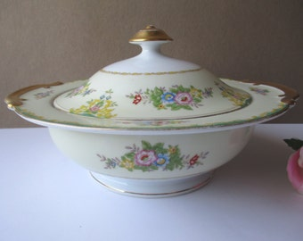 Vintage Meito China Pink Blue Floral Covered Serving Bowl - Shabby Cute