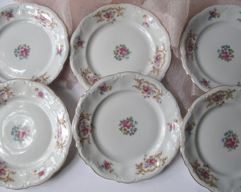 Bread and Butter Plates Kronester Monroe Bavarian Pink Floral Set of Six - Vintage Chic