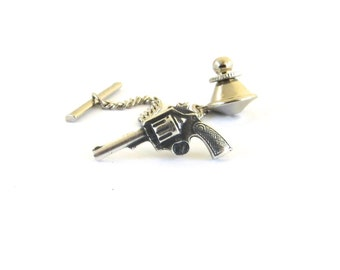 Gun Tie Tack- Sterling Silver Ox Finish- Gifts For Men