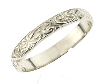 Sterling Silver Classic Art Deco Wedding Band