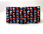 Handmade women's black wallet Seaport view nautical flags with ID clear pocket - ready to ship