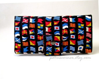 SALE - Handmade women wallet - Seaport view nautical flags - ID clear pocket - ready to ship - 30% off