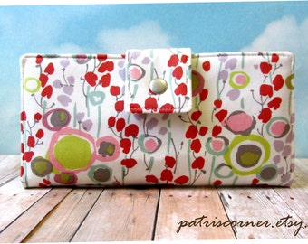 Handmade women wallet - Delicate abstract floral print - Custom order - Womens wallet - clutch - gift for her - Pastel colors