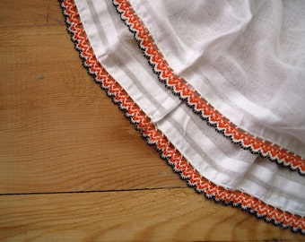 white cotton scarf with beaded edging, orange black, crochet with beads, vintage