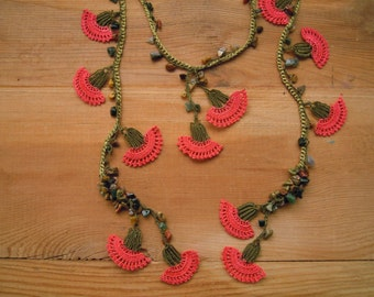 crochet flower necklace, lariat peach carnation