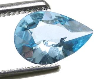 Aquamarine Loose Gemstone Pear Drop AAA Grade Flawless Gem Cut Engagement Ring Sky Translucent Light Blue Aqua Brazilian 1.085 Carats