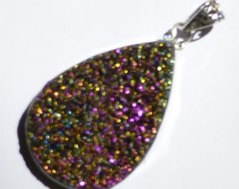 Titanium Druzy Pendant Mystic Purple Magenta Drop Amazing Deep Color Change Magical Slide Bead Sterling Silver Ready To String or Beadwork
