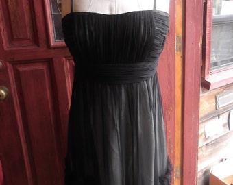 "Designer ""Oleg Cassini"" Black Chiffon Cocktail Dress, M/L"