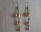 Tiny Bubbles earrings- cream-colored faux pearl dangly earrings