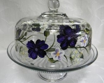 Cake dish-Hand painted cake dish-painted punch bowl-painted purple flowers