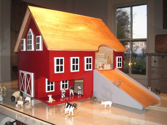 Large Kids Toy Wooden Barn By Thesquarenail On Etsy