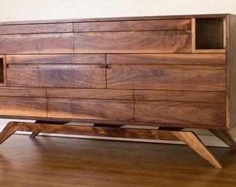 Mid Century Danish Modern Style Dresser in Walnut with Cubbies