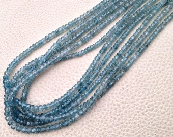 New Arrival,Amazing Rare NATURAL BLUE ZIRCON, Full 16 Inch Strand,Micro Faceted Rondells,3.5-4mm,Finest Quality