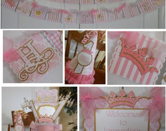 Pink and Gold Princess 1st Birthday Party Package