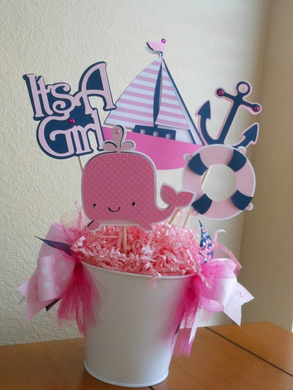 it 39 s a girl pink and navy nautical centerpiece baby shower by a sweet