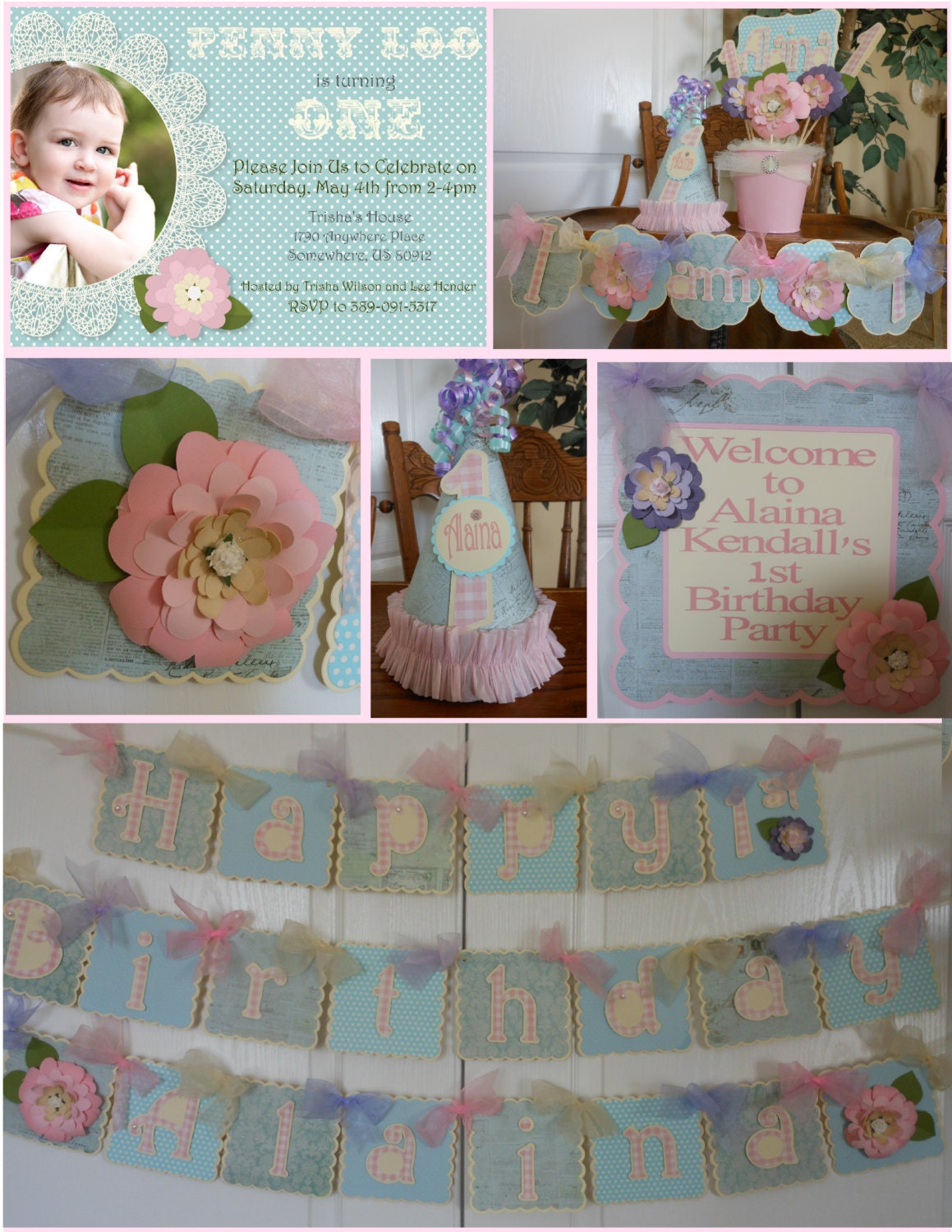 Shabby chic flower 1st birthday party package by for 1st birthday decoration packages