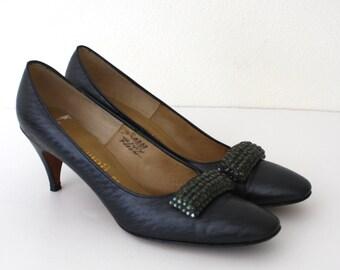 Vintage 1950's Black Stiletto Heels / Metallic Mad Men Pumps / Ladies Size 7 1/2 US, Euro 38, UK 5 / Formal Heels Andrew Geller Nordstrom