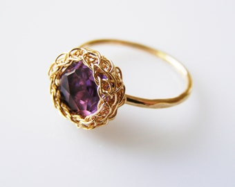Mother's Day Gift, Amethyst Ring, Stacking Ring, Thin Stackable Ring, Purple Gemstone Ring, Purple Ring, Purple Bridal Jewelry