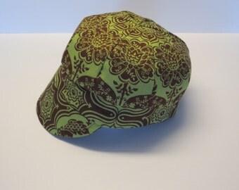 Baby Newsboy Cap Baby Newsboy Hat Green Brown Floral Baby Hat Floral Baby Cap Baby Girl Cap Baby Girl Hat